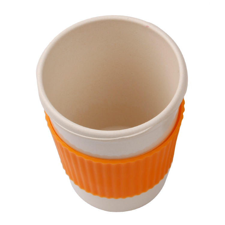 Customized Biodegradable Plastic Coffee Mug Bamboo Coffee Cup with Silicone Lid