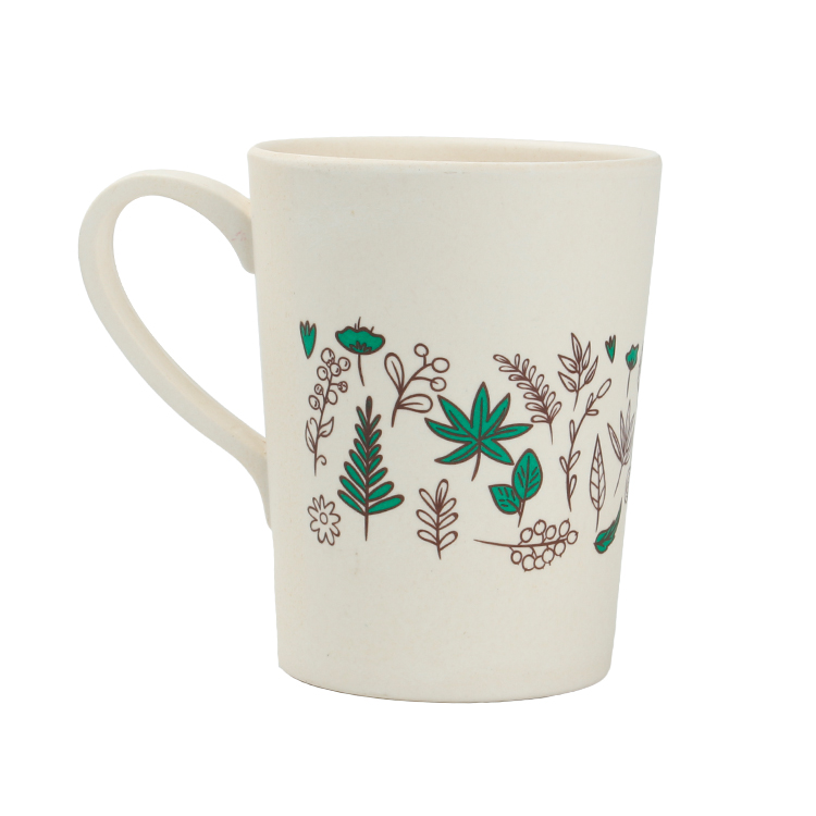 Eco Safe Patterns Bamboo Fiber Milk and Coffee Cups with handle