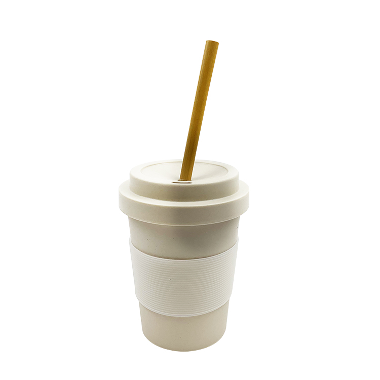 Creative Bamboo Fiber Water Cup Silicone Lid Cover Coffee Mug Cups