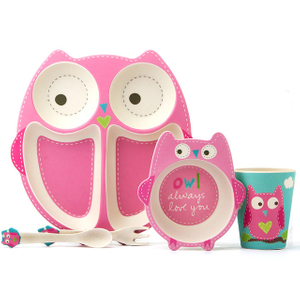 owl/elephant/horse/shark/lion bamboo fiber kids tableware set-plate/bowl/cups-eco friendly