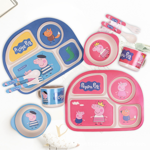 Natural Organic Bamboo Fibers cartoon Design Children Dinner Kit, Kids Feeding Tableware Cutlery Plates Bowls