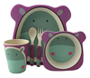 Bamboo Kids Dinnerware Set Biodegradable BPA Free FDA Approved 5 Pieces Plate Bowl Cup Spoon Fork