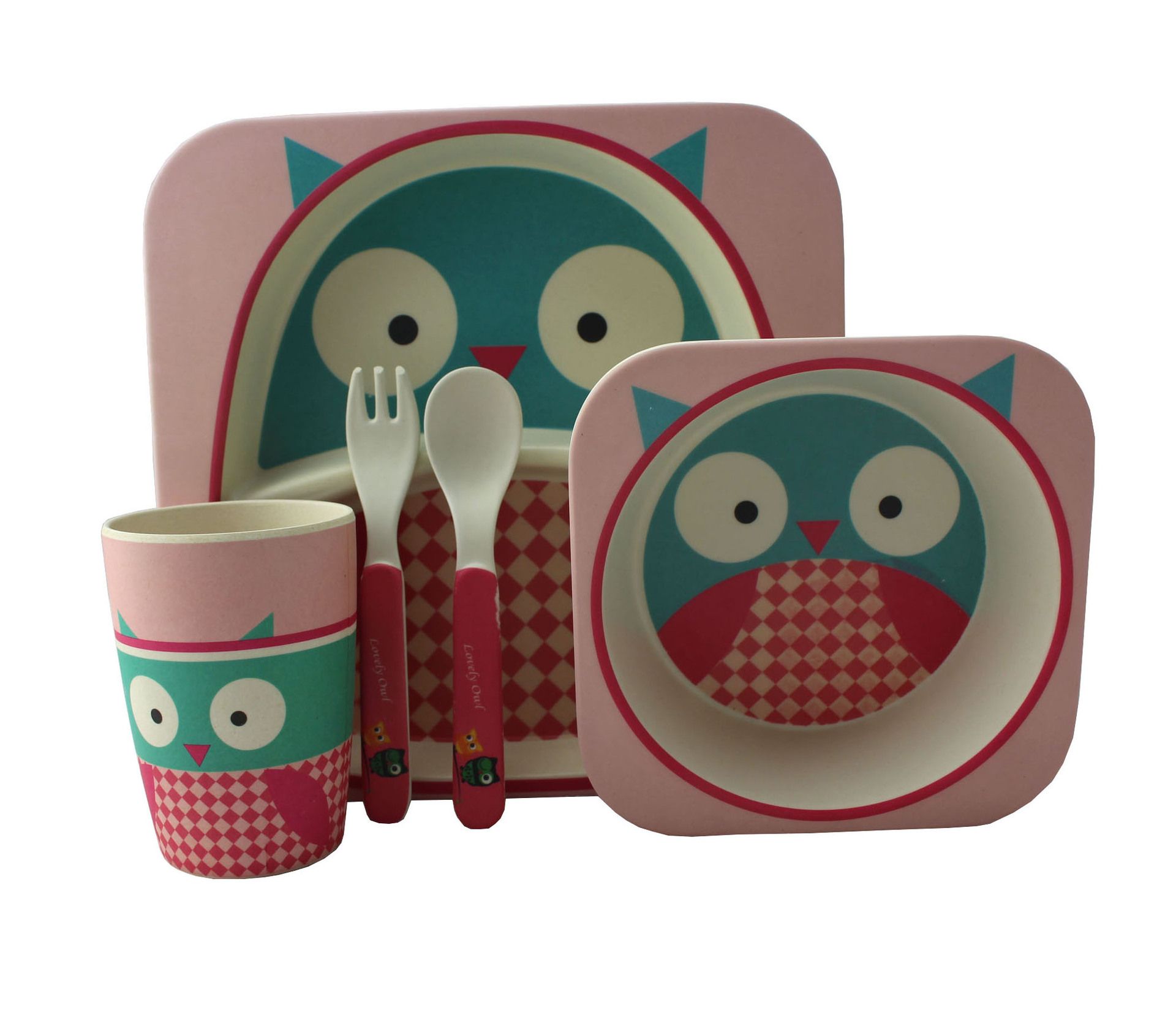 BPA FREE Eco-Friendly Bamboo Fiber kid plate set