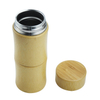 400ml double wall stainless steel vacuum water bottle, bamboo tumbler with tea flitter