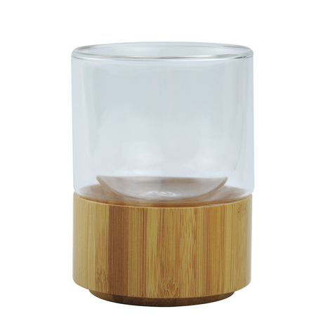 double walled glass water bottles bamboo wooden cups for sale