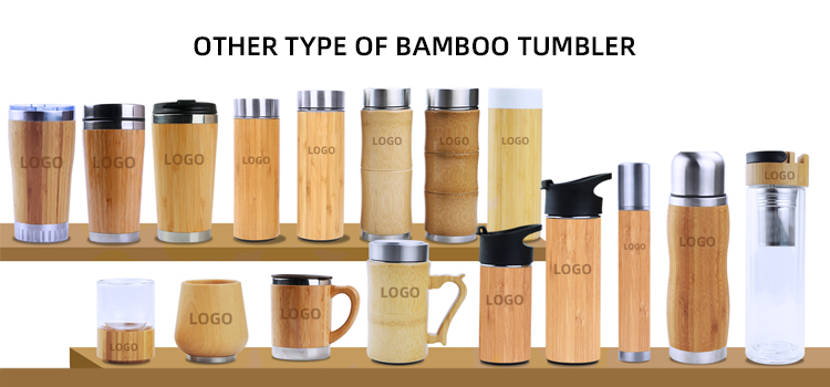 300ml Natural Bamboo 18/8 Stainless Steel water bottle bamboo tumbler with lid