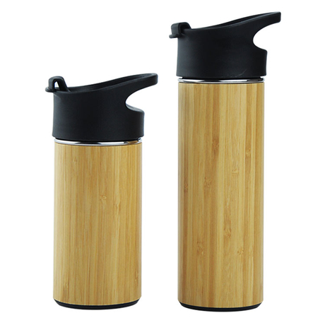 450ml Eco Friendly Bamboo Water Drinking Coffee Cup Travel Stainless Steel 100% Natural Bamboo Coffee Cup with Bamboo Shell