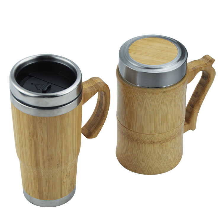 Food grade double wall insulated coffee cup with bamboo shell