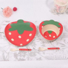 Baby Feeding stawberry Bamboo Fibre Tableware and Kid Plate Set