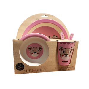 Eco Bamboo Fiber Fun 5 Piece Kids Tableware Set
