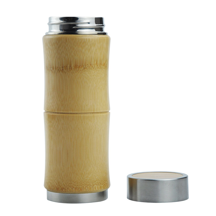 Customized Logo 650ML Wood bamboo Sports Travel Vacuum Tumbler Natural wood cups