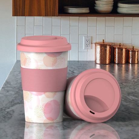 biodegradable eco-friendly reusable Bamboo Coffee Cup with silicone lids